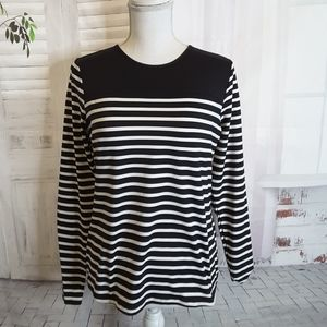 3/$30 Lands' End black white striped top sz S 6-8